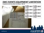 swc events equipment limitation compliance with class rules certificates rrs 78