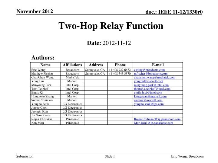 two hop relay function n.