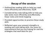 recap of the session