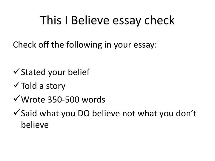this i believe essay check n.