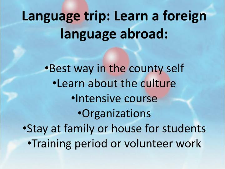 Language trip: Learn a foreign language abroad: