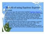 benefit of using equitrac express