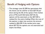 benefit of hedging with options