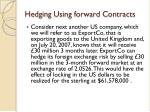 hedging using forward contracts1