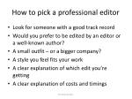 how to pick a professional editor