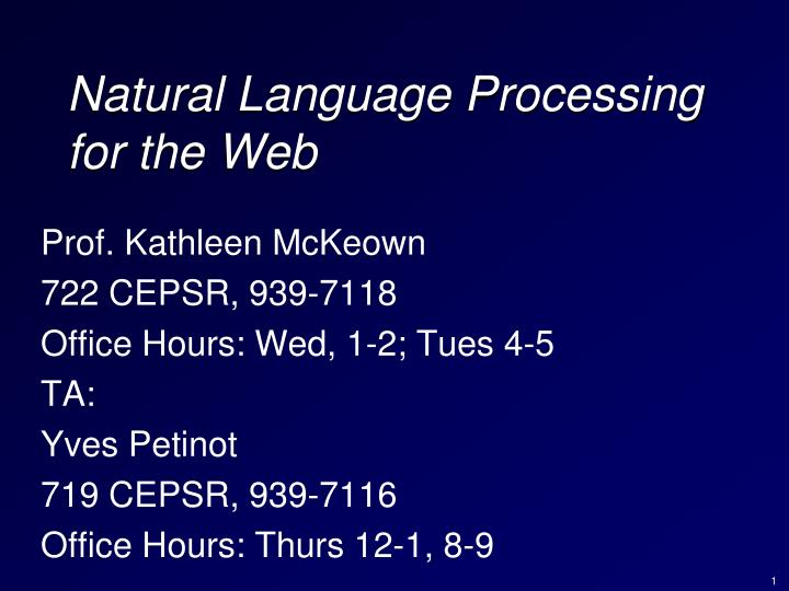 natural language processing for the web n.