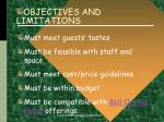 objectives and limitations