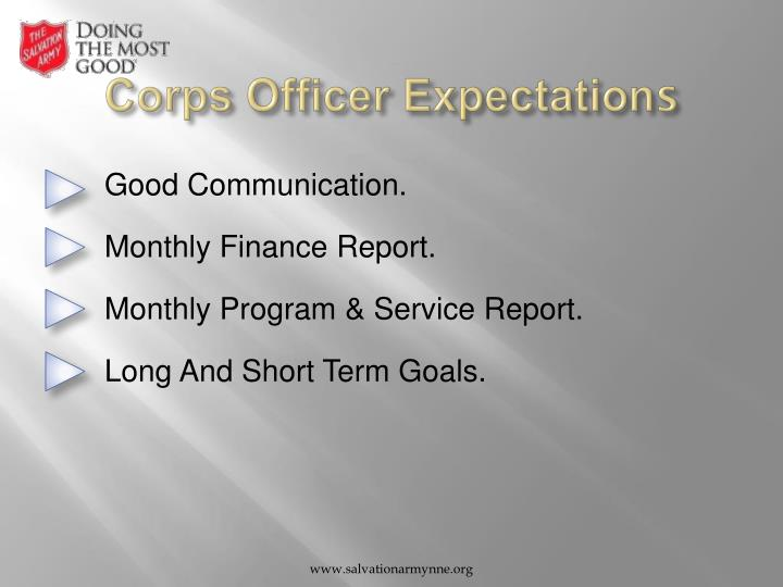 Corps Officer Expectation