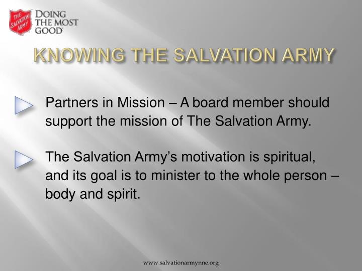 Knowing the salvation army