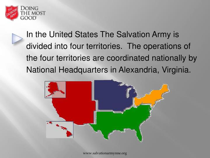 In the United States The Salvation Army is