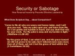 security or sabotage how personal insecurity prevents effective leadership12
