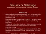 security or sabotage how personal insecurity prevents effective leadership38