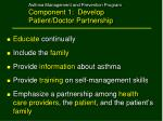 asthma management and prevention program component 1 develop patient doctor partnership