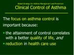 global strategy for asthma management and prevention clinical control of asthma
