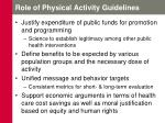 role of physical activity guidelines