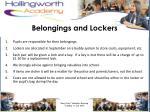 belongings and lockers