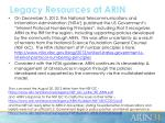 legacy resources at arin