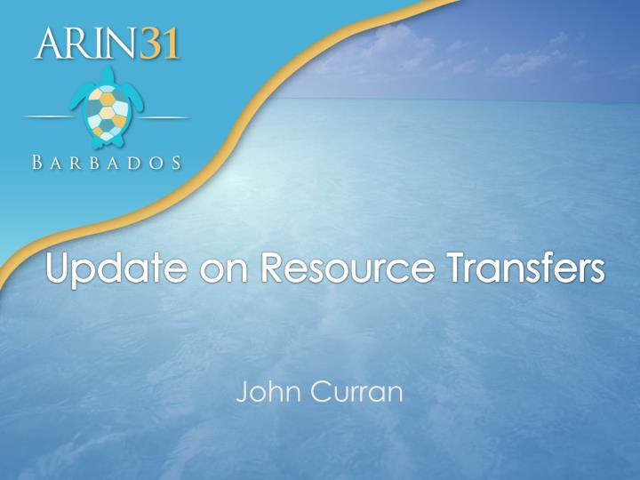 update on resource transfers n.