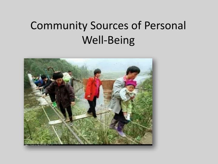 Community Sources of Personal