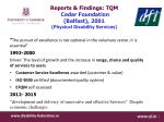 reports findings tqm cedar foundation belfast 2001 physical disability services