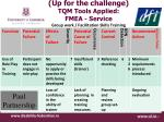 up for the challenge tqm tools applied fmea service group work facilitation skills training