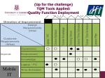 up for the challenge tqm tools applied quality function deployment