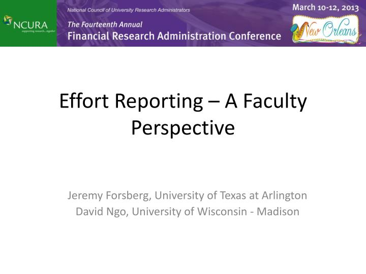 effort reporting a faculty perspective n.