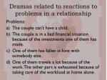 dramas related to reactions to problems in a relationship