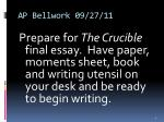ap bellwork 09 27 11