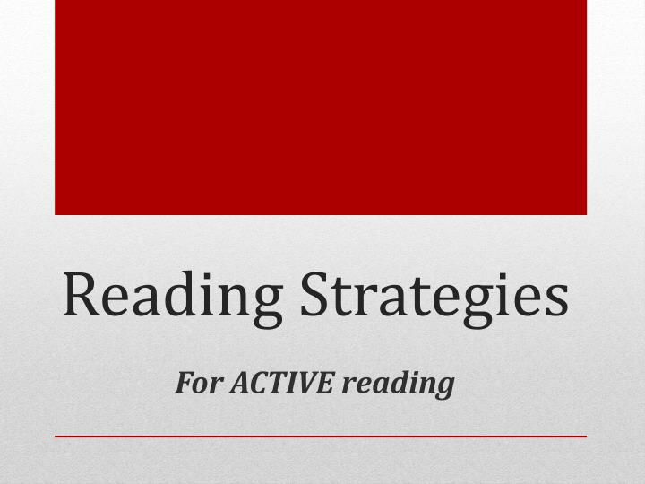 reading strategies n.