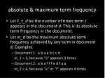 absolute maximum term frequency