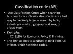 classification code abi