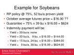 example for soybeans