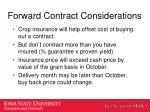forward contract considerations