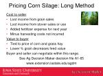 pricing corn silage long m ethod