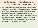 content area questions focusing on curriculum strategies and best practices