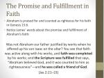 the promise and fulfillment in faith