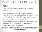 the promise and fulfillment of faith