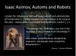 isaac asimov automs and robots