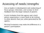 assessing of needs strengths