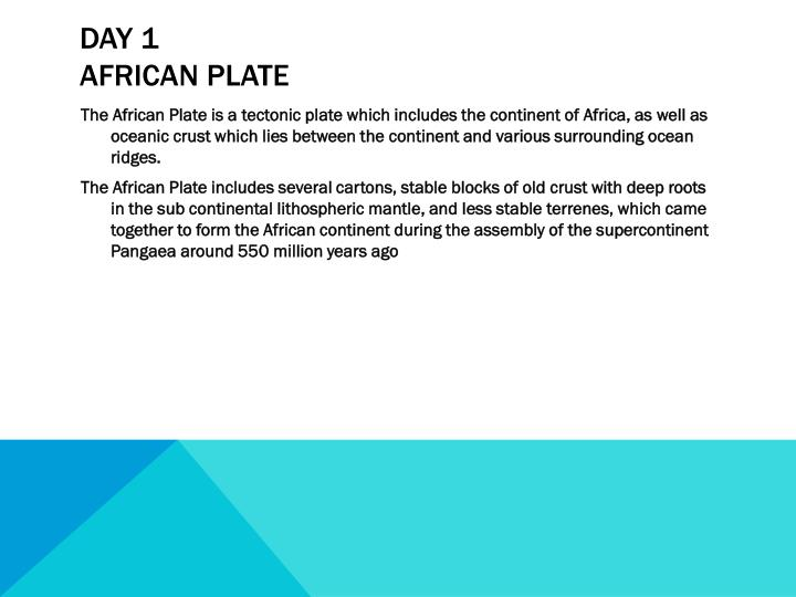 Day 1 african plate