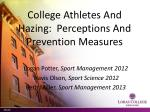 college athletes and hazing perceptions and prevention measures