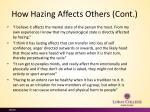 how hazing a ffects o thers cont