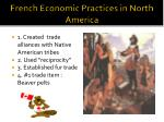 french economic practices in north america