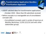 transformative application bundles prioritization approach