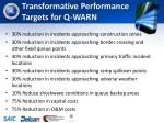 transformative performance targets for q warn