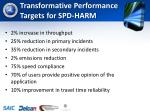 transformative performance targets for spd harm