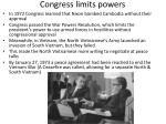 congress limits powers