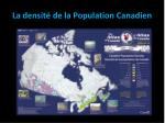 la densit de la population canadien