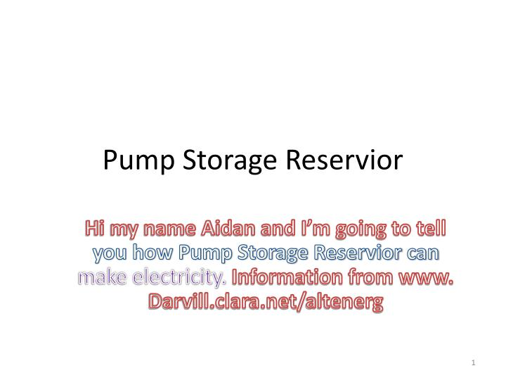 pump storage reservior n.